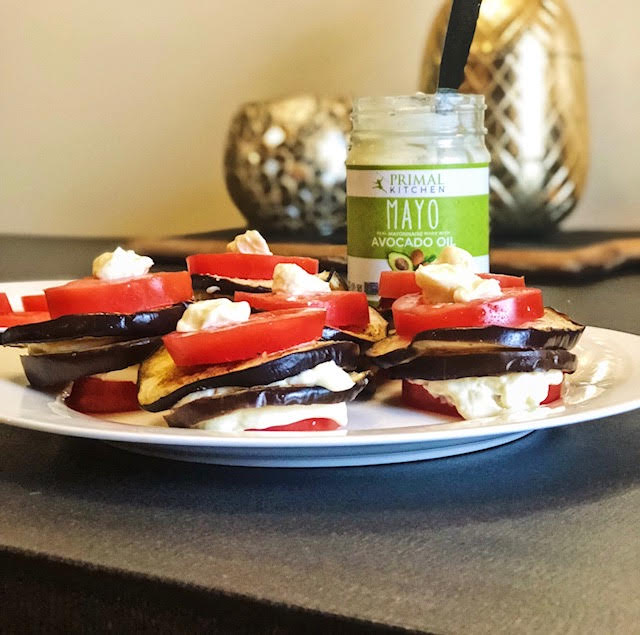 """""""eggplant parm"""" that's gluten-free, dairy free & vegan! - -slice and roast some eggplant on a cooking sheet with light olive oil + salt = cook for 25 minutes on 350-spray a round or square baking pan with 'primal kitchen foods avocado oil spray"""" layer in a layer of roasted eggplant, a layer of spread hummus, another layer of previously roasted eggplant, then pour over """"raoes homemade sauce"""" and bake for 30 minutes at 350 degrees.add some fresh or roasted tomatoes on top & bottom with a layer of """"imperfect produce avocado oil mayo"""" & voila! you have your """"eggplant parmigiana"""" -xoxojackie"""