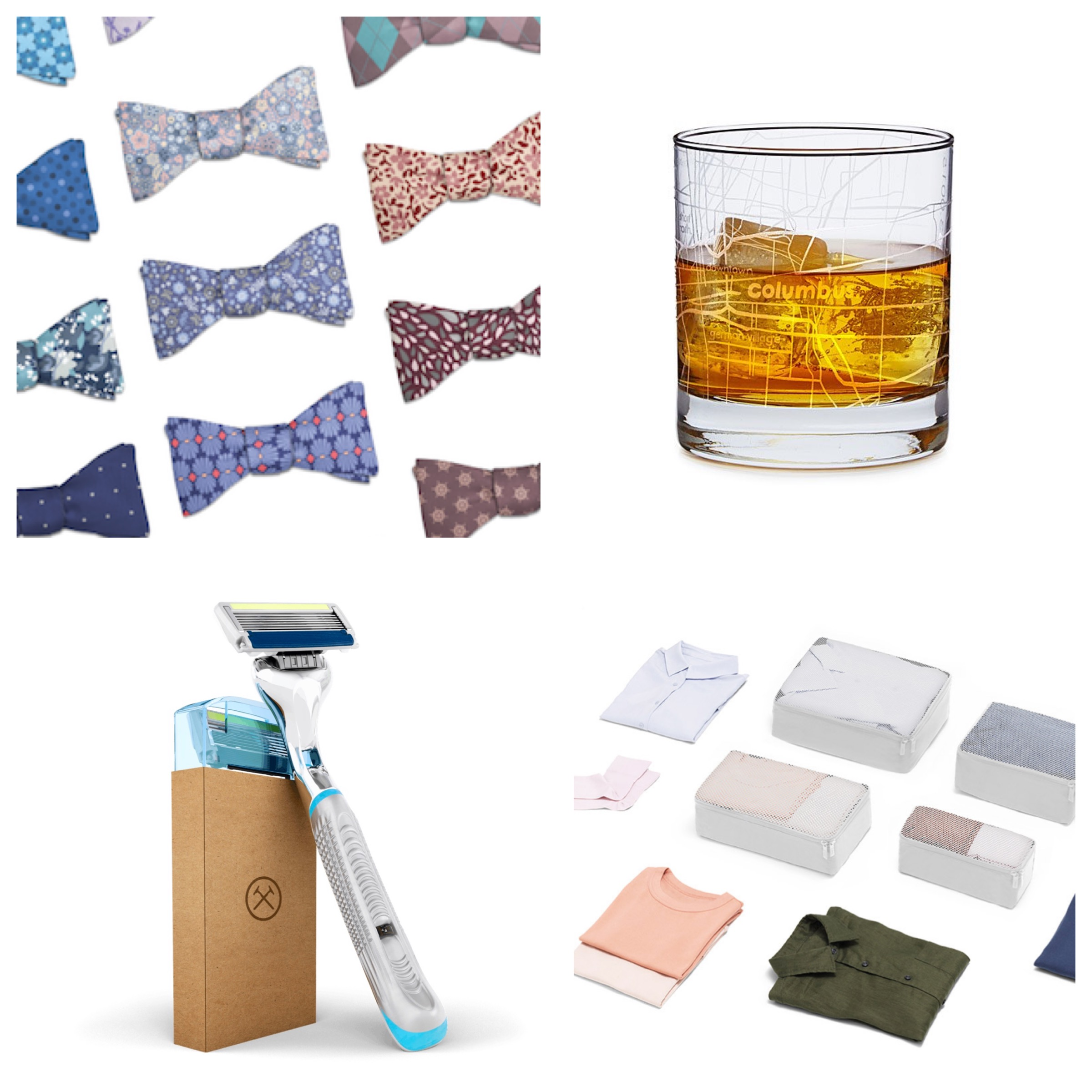 under $50 christmas gift guide: - for the classy guy: knotty tie bowties made from recycled bottles for $40for the whiskey drinker: uncommon goods city map glass for $16for the hairy: dollar shave club monthly razor box for $9 a monthfor the traveler: away insider packing cubes for $45
