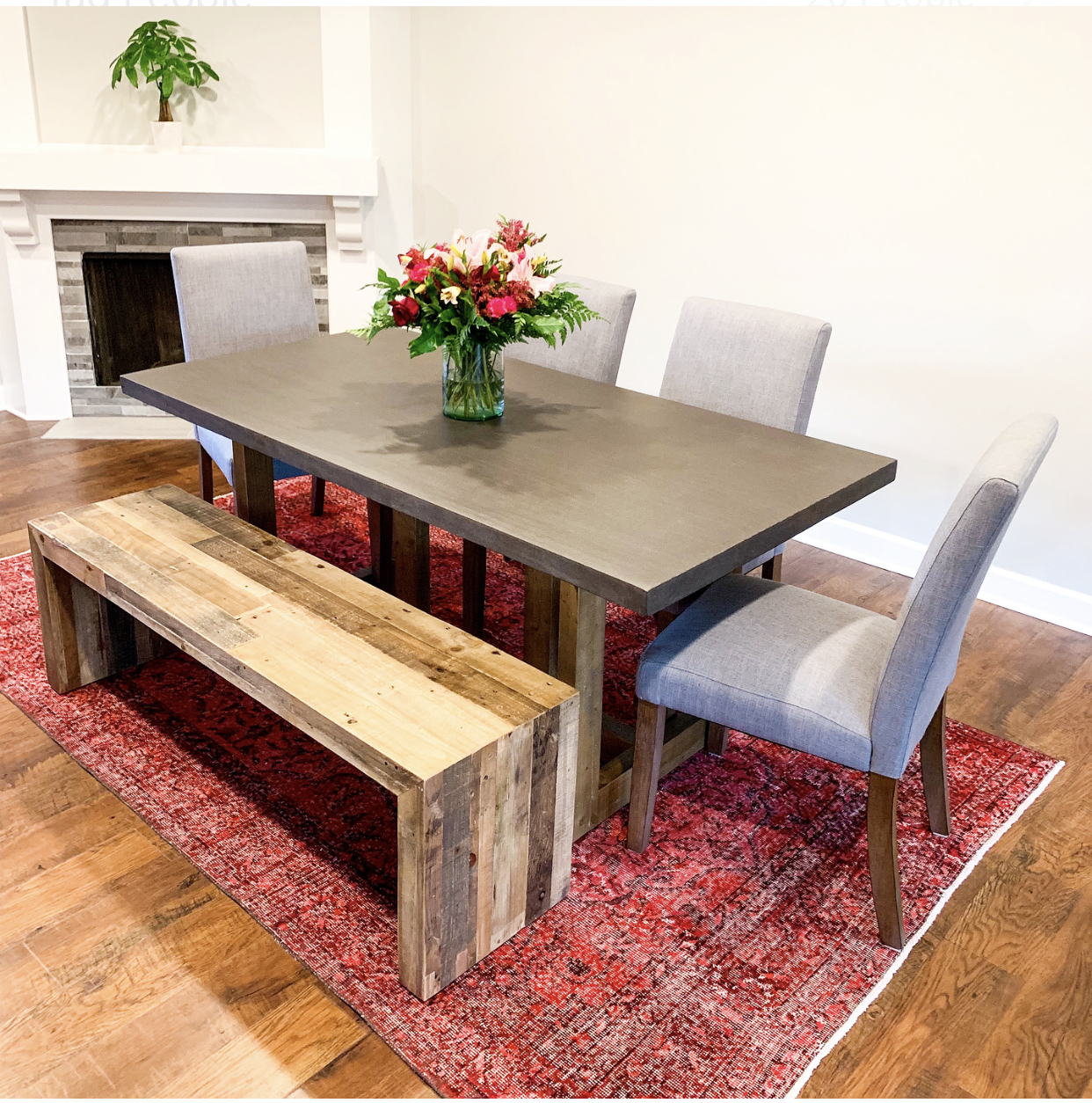 Our Dining Room Breakdown:  Rug:   Revival Rug Vintage Hand Woven & Knotted    Chairs:   Gray Dorel Living Harlem Parsons Chair    Table:   West Elm Emmerson Reclaimed Wood    Bench:   West Elm Emmerson Dining Bench    Flowers:   Fresh 1-800 Flowers Artisan Selection