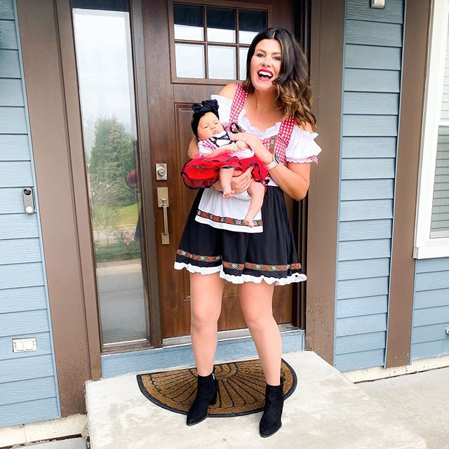 #oktoberfest season & #halloween around the corner aka costume season 🙌🏻 they don't sell newborn oktoberfest outfits {weird i know you'd think so many babies would partake 😉} so i found her a little red riding hood costume on @amazon ditched the hood & voila ~ baby beer garden girl! what should we go as for halloween!? {sal too}👇🏻taking any and all family costume suggestions ❤️ #twinning  #mommyandme #beergardengirls #familyhalloweencostumeideas  #liketkit #ltkfamily #oursweetcharliegirl