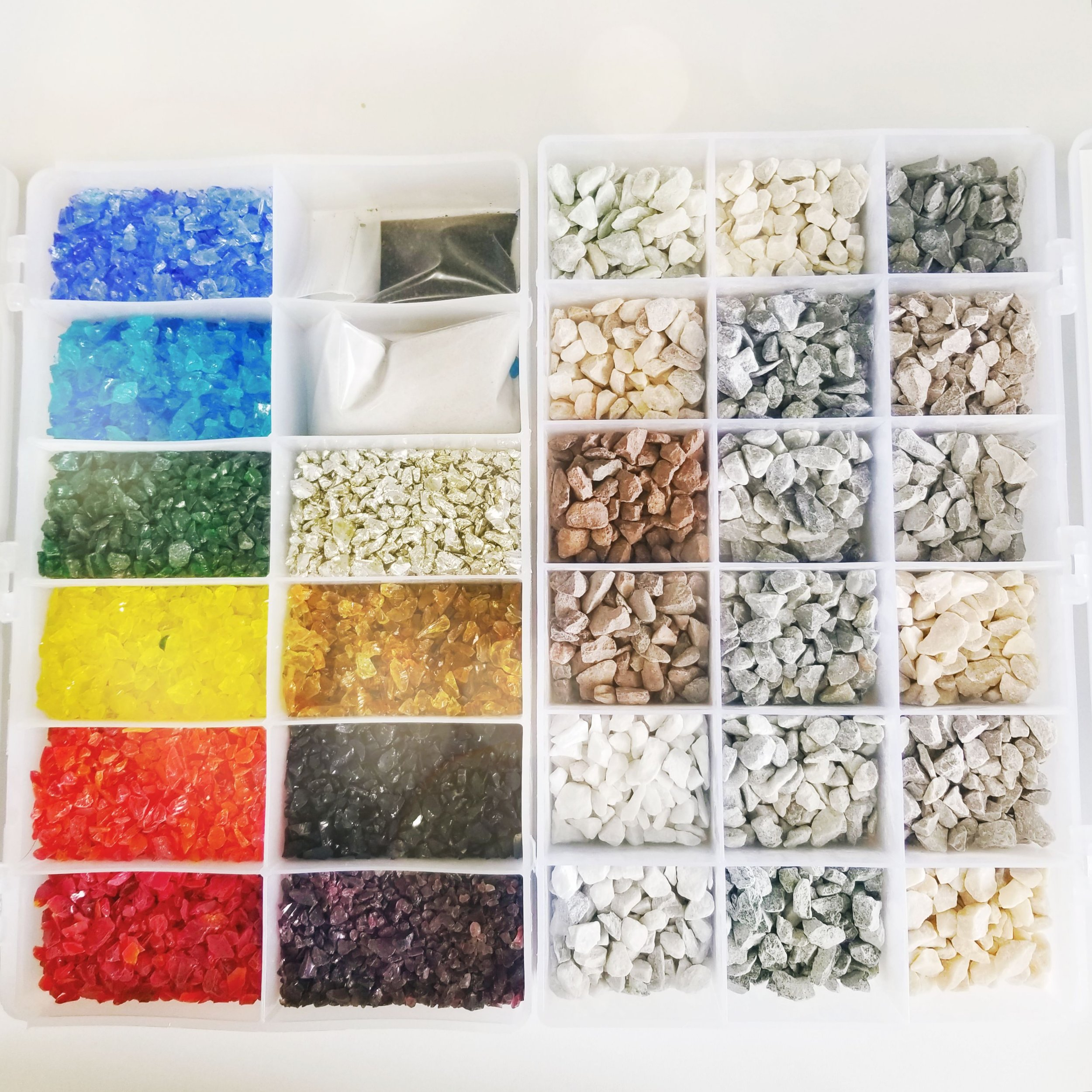 Just a few options of glass and stone chips for a terrazzo floor