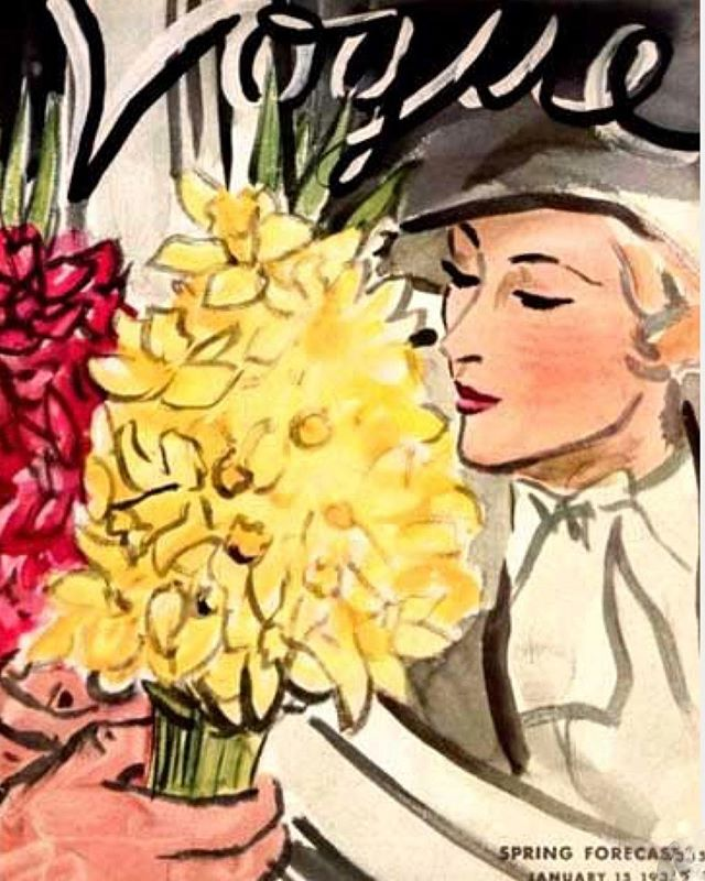 The joy of making it to the end of January. One can almost imagine the scent of Spring. Vogue 1933. #finjanvier #february #spring #vintagevogue #vintagevoguecover  #1930sstyle