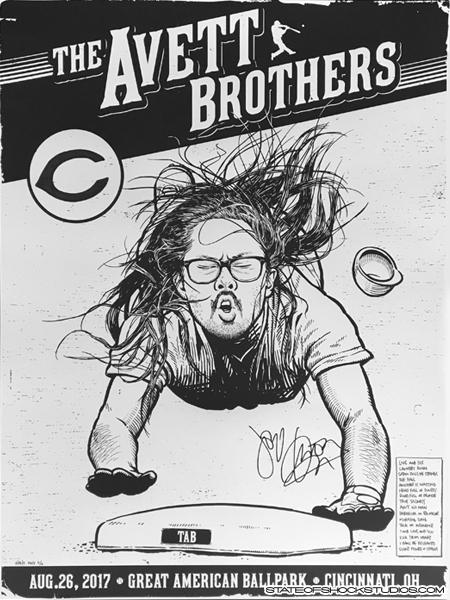 The Avett Brothers: Cincinnati 2017 Black & White Setlist Variant