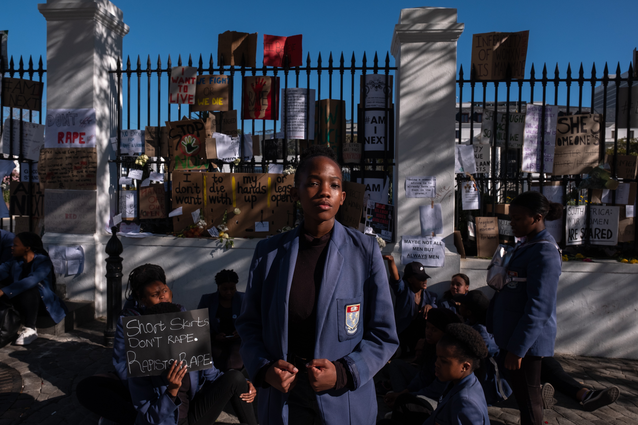 """6 September 2019: Abigail Bolisiki, a Sans Souci High School student from Gugulethu: """"The most infuriating thing is that the men who are supposed to be protecting us, according to patriarchy, are the ones that are killing us. Why do we have to survive and not live? Because we are also human. Why do we have to fight more than men for our space on this land whereas men are entitled to their own space and way of living and it has to always affect us because we are inferior to them. I won't say it has been a success because not all the rapists and perpetrators have been caught. When we fight we die, when we don't fight we die. So we might as well fight and die trying so we know we did our part."""""""