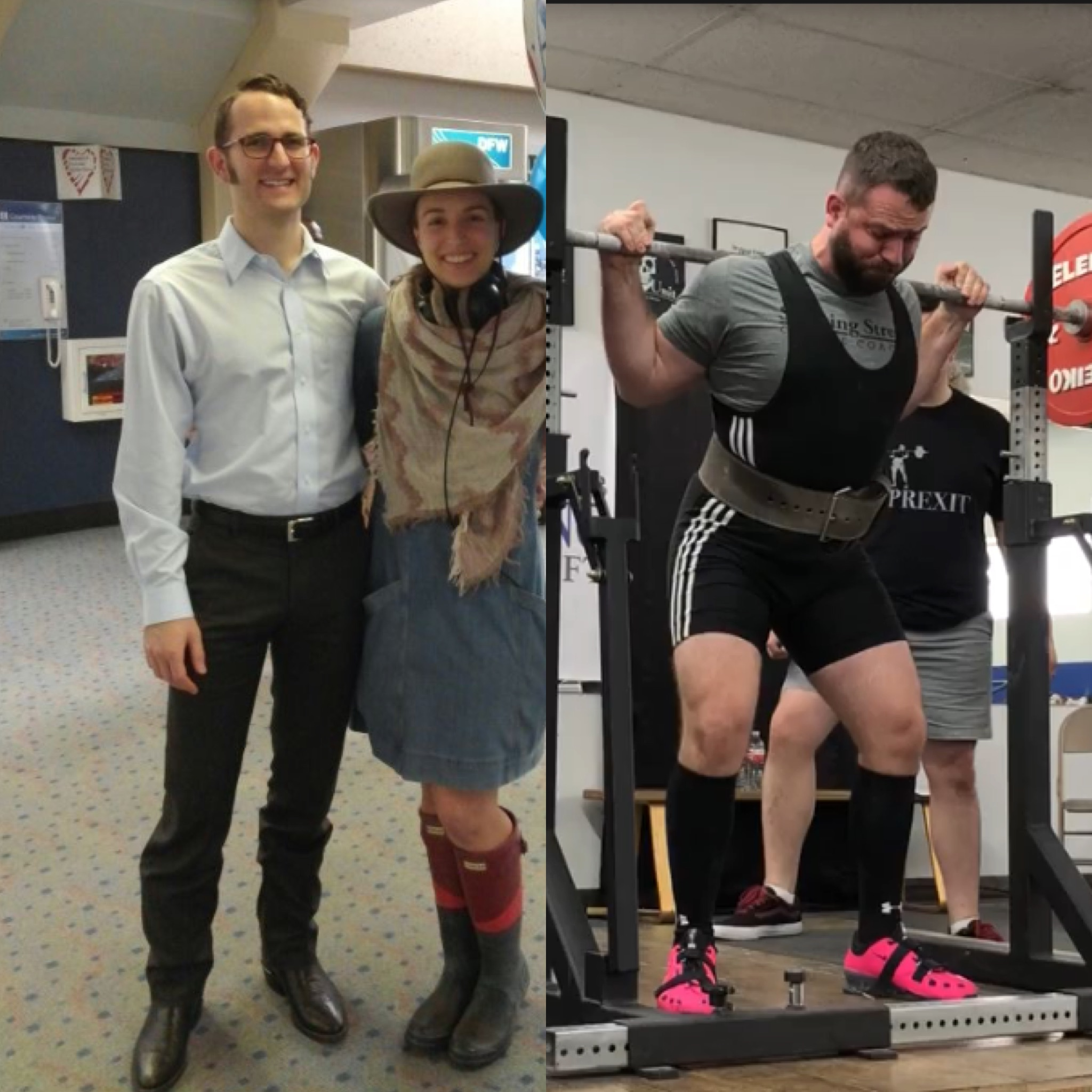 """On the left Trent Jones prior to systematic strength training. On the right Trent Jones lifts 411 lbs during a """"Starting Strength"""" meet."""