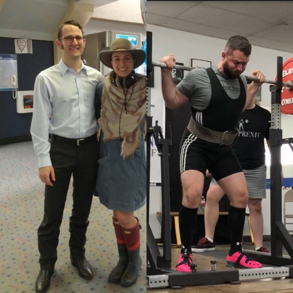 On the left Trent Jones prior to systematic strength training. On the right Trent Jones lifts 411 lbs during a