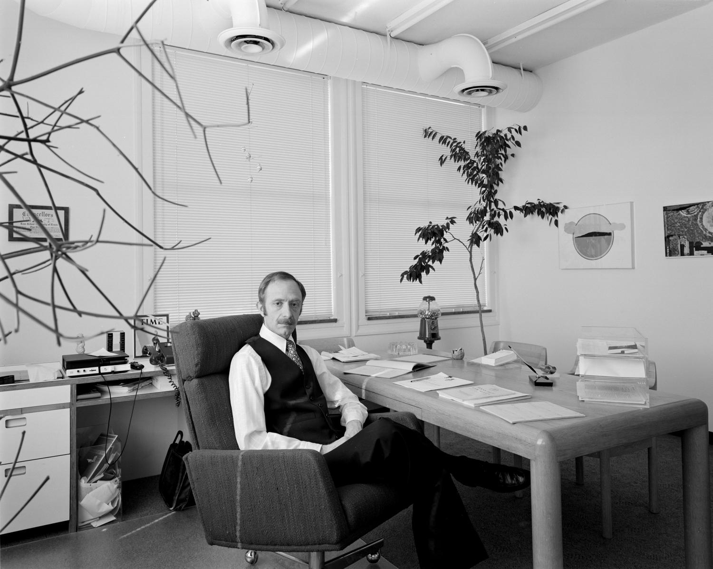 Gus Block in his office, Houston, TX, 1977