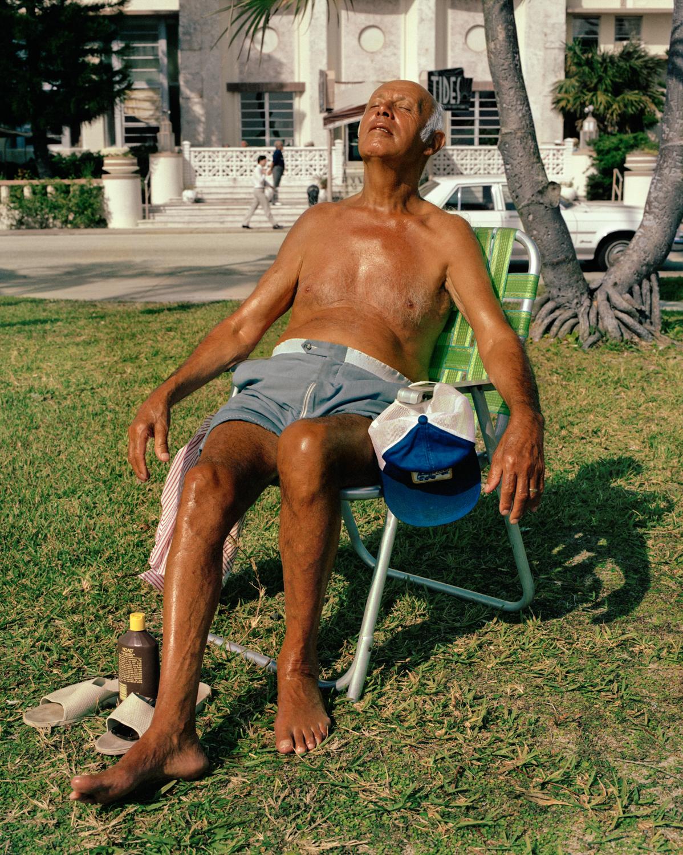 Man Sunbathing in Lawn Chair)   Miami - South Beach 1982-85