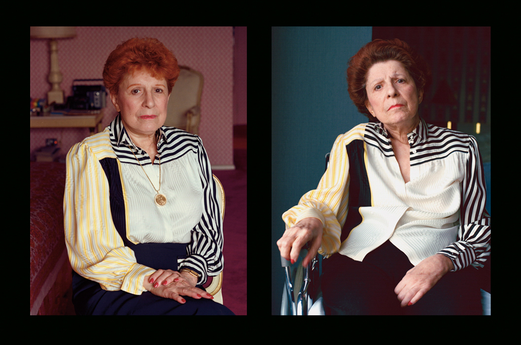 "Before and after her stroke, 1987-88. She refused to work at rehab: ""But Mother, the doctors say you could walk again!"" ""Don't push me, Gay!"""