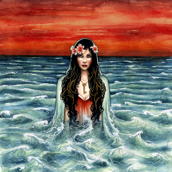 Elisa Lovelie Album Art - Front cover, inside image, and back cover artwork for Elisa Lovelie's 2013 album.All created with watercolor.