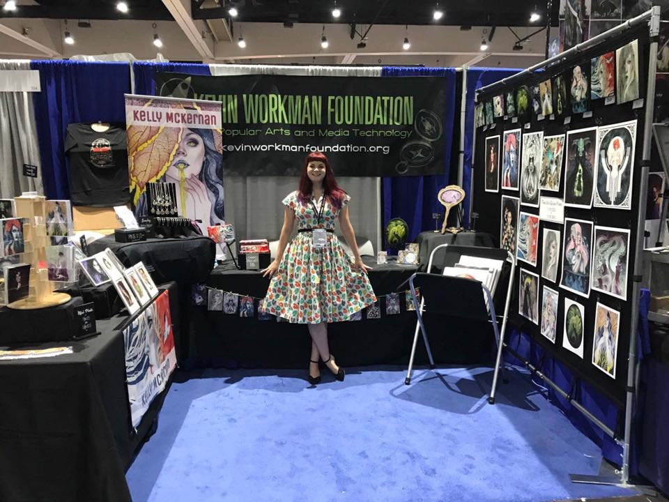 "My booth setup for SDCC - it was 10' x 10' and my goal was to make it inviting and present a ""gallery"" to catch attendees as they walked by. I later flipped the layout to draw more people in."