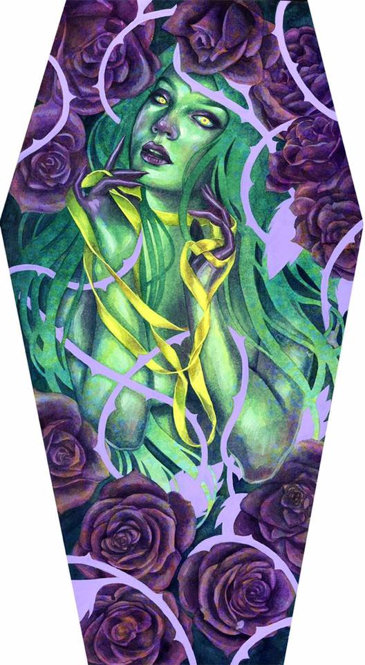 """Indelible   - Created forEvery Day Originaland Month of Fear. """"Indelible"""" // 11"""" x 20"""" coffin panel // Watercolor, Acrylic & Acryla Gouache //  SOLD"""