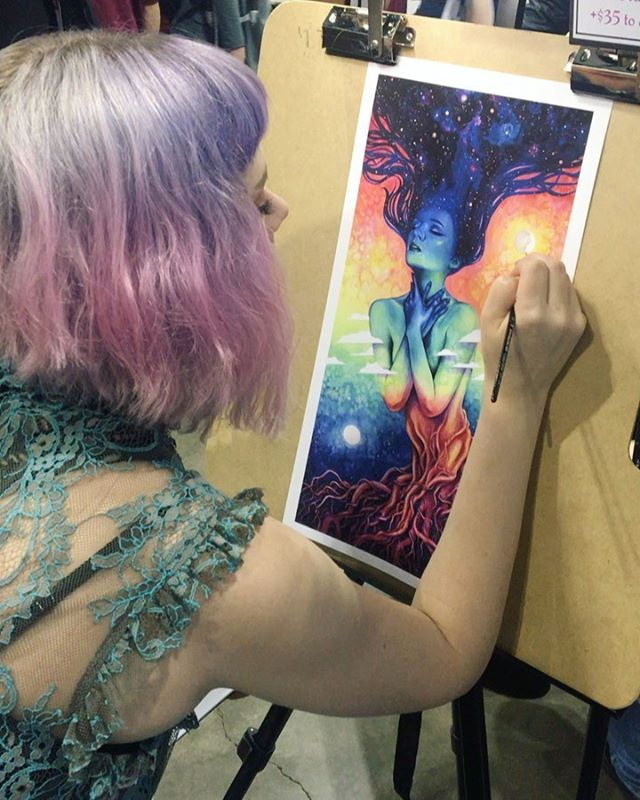 @denverpopculturecon has been so fun! A few prints have sold out already! Thank you to everyone that's dropped by! I'll be busy tomorrow morning embellishing a few special prints. I'm at P1 (across from the incredible @babsdraws!) come say hello! 💜 . . . . #denvercomiccon #denverpopculturecon #dccc #denver