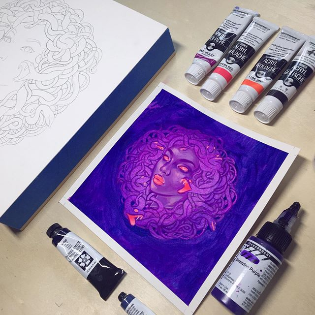 I'm racing against the clock today to finish my medusa piece for my turn on @everydayorig tomorrow! I had to start over today after a mishap yesterday, but at least I've gotten a color study to follow that I made with my @turnercolourworks Acryl Gouache provided by @jerrysartarama as one of @jerrysartists. I'm utterly obsessed! I'm really feeling this direction and can't wait to dig further into these colors. 💜 . . . . . #jerrysartarama #jerrysartists #turneracrylgouache #gouache #turnergouache #acrylgouache #acrylagouache #medusa #everydayoriginal #patreonartist