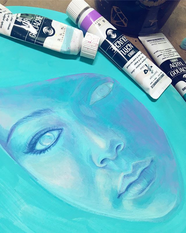 Watching her slowly emerge out of brushstrokes and paint has been super relaxing! 💦 I've been doing more pieces in acryla gouache and loving the process. Thank you to @jerrysartarama for supplying me with tons of materials to play with, including my favorite, @turnercolourworks acryl gouache! 💜 . . . . . @jerrysartists #jerrysartarama #turneracrylgouache #acrylagouache #acrylgouache #summer #summertime #archenemyarts #acrylicpainting #wip
