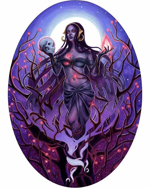 Who plays MTG and who's your favorite planeswalker? Last year I created this piece of Liliana Vess for an official @wizards_magic art show at @galleries1988. I had an incredible amount of fun painting it in watercolor and acryla gouache! 💀😈🔥 . . . . #magicthegathering #mtg #wizardsofthecoast #wotc #lilianavess #necromancer #blackmagic #magic #gallery1988 #fullmoon #skull #fantasyart #horrorart #fanartfriday