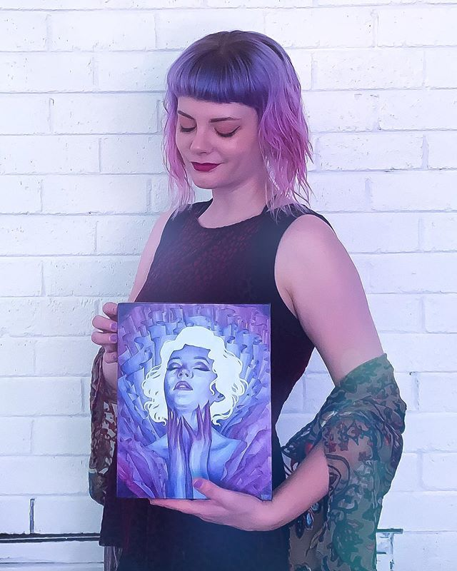 """Surrender"" is one of my favorite available original works and you can save $170 right now during my 🎊 Birthday Sale 🎊 and add her to your collection! Plus, every order comes with extra goodies while supplies last. 💜 . . . . . #birthday #happybirthday #supportlivingartists #watercolor #watercolour #artcollector #artist #nashvilleartist #beautifulbizarre #surrealart #purple"