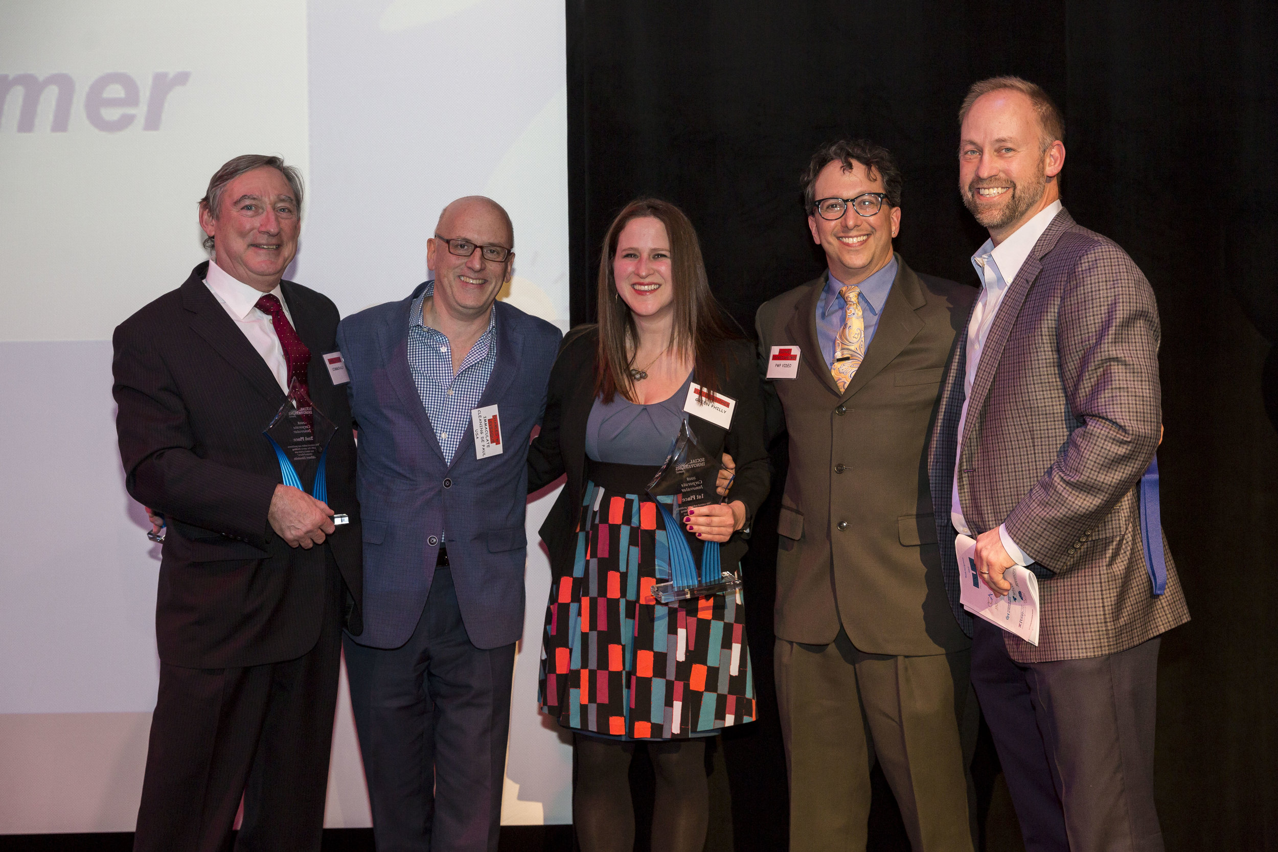 - CORPORATE1st: Julie Hancher, Green Philly2nd: Chris Jacobs, Communally3rd:  Charles W. Levesque, Immaculate Cleaning Services: De Paul USA4th & 5th:  Mindi S. Knebel, Kaizen Health & Michael Schweisheimer, PWP Video