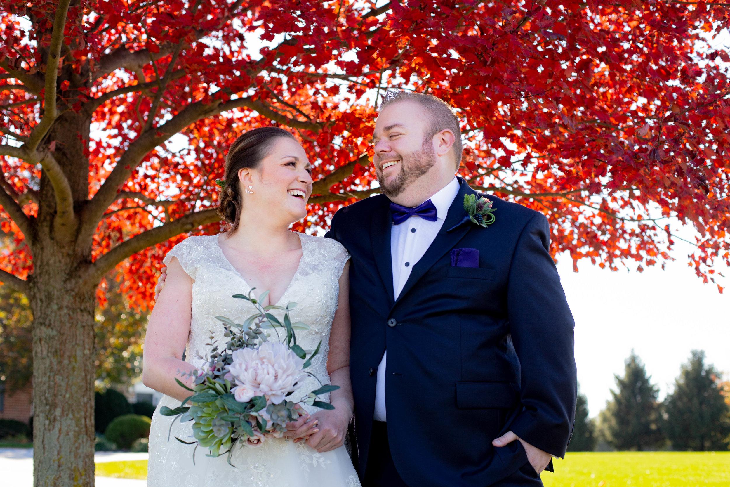 Bride and groom fall foliage
