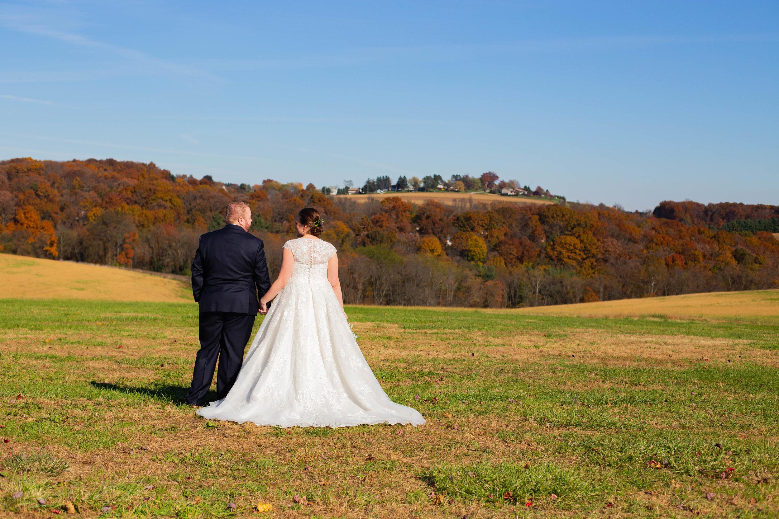 Bride and groom field