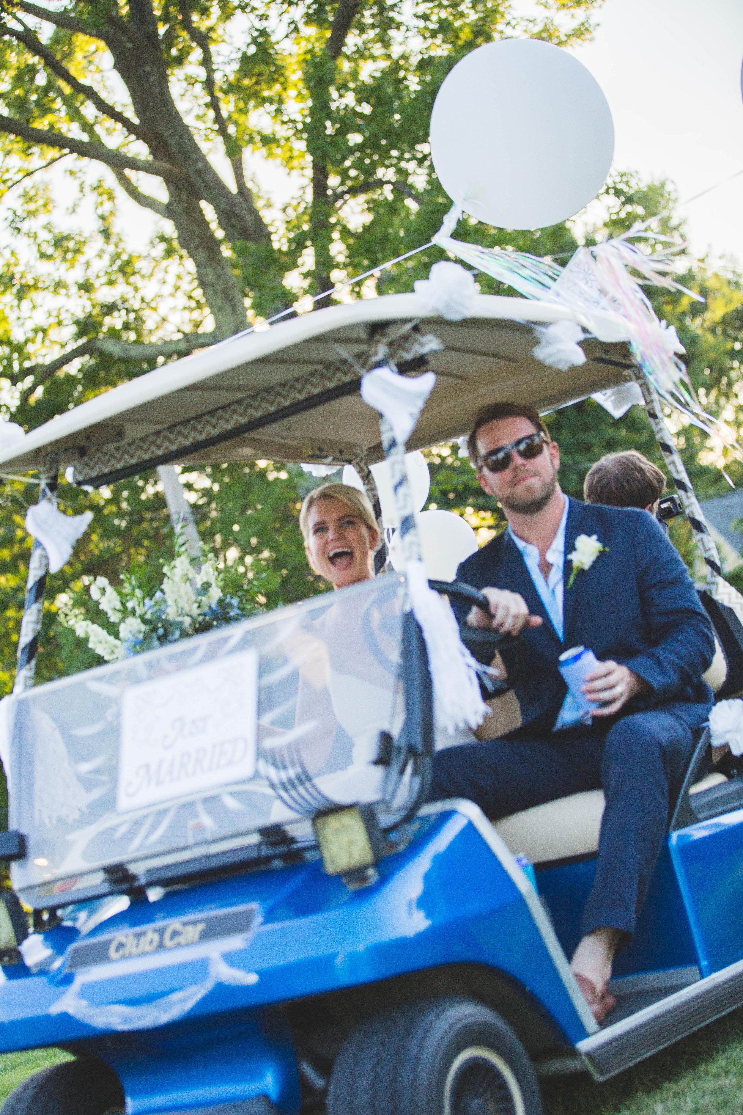 Bethy & Shawn golf cart