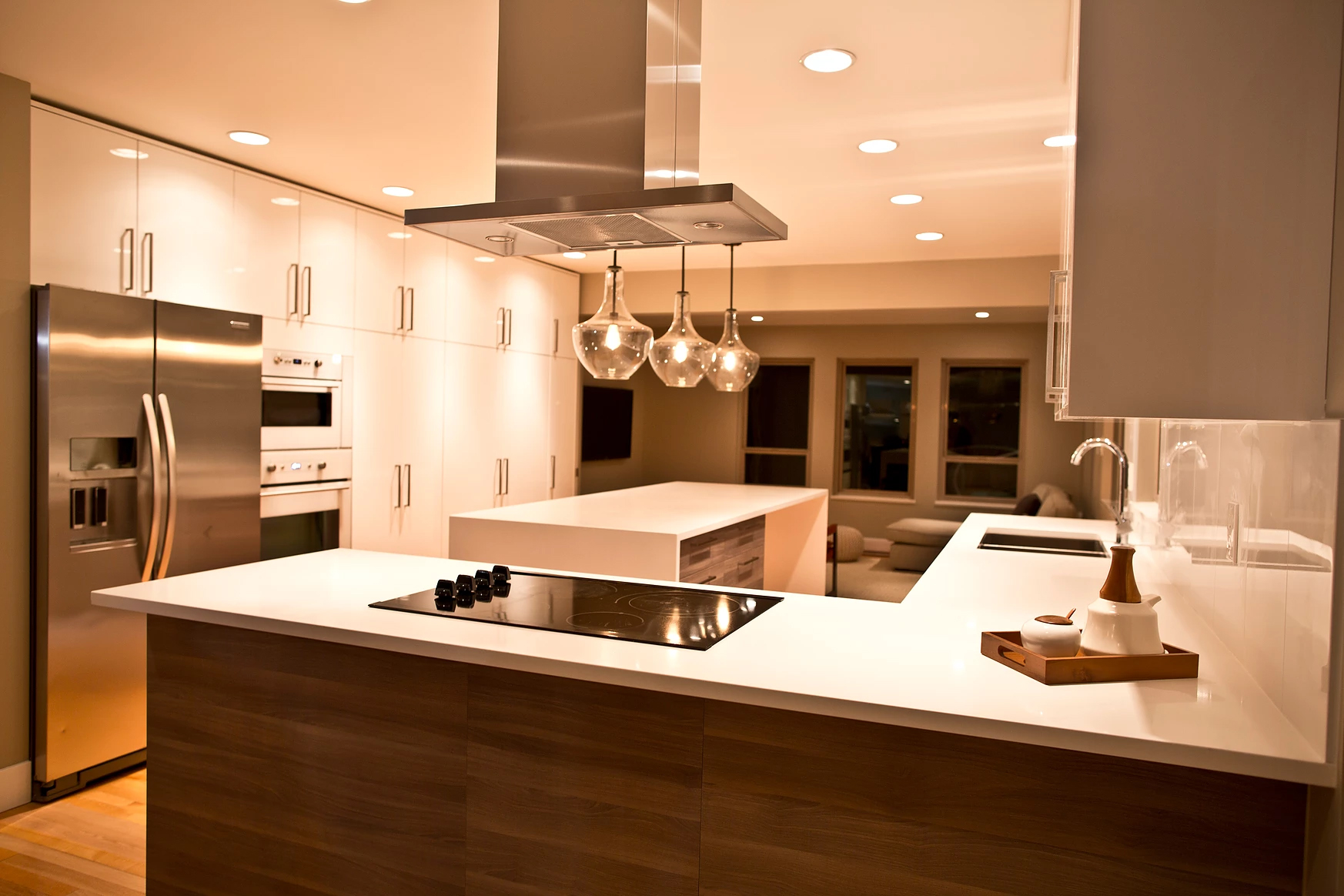 Kitchen - Well designed cabinets and beautiful fixtures shape this bright, open space.
