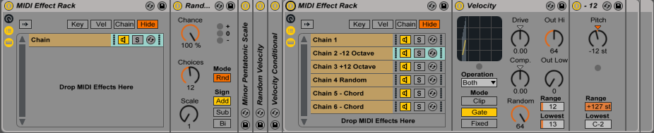 Fig 6. Midi Effect Rack With Multiple MIDI Effect Chains