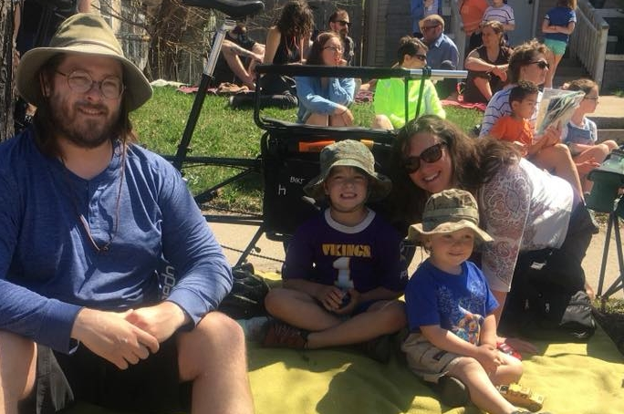 Enjoying the May Day parade with my husband and two boys.  Always a family favorite.