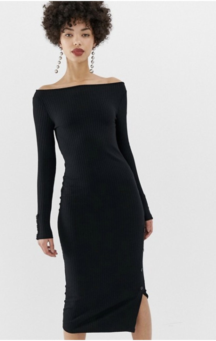 River Island off the shoulder body-con dress with popper detail in back [ $51.00 ]