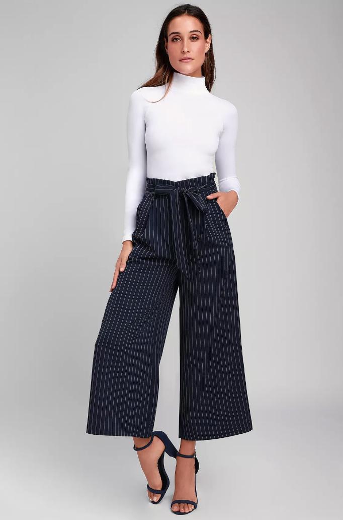 LuLu's Mason Navy Blue Stripped Paper Bag Culotte Pant [ $29 ]