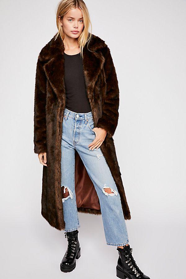 Free People Long Faux Fur Mac Coat [$499]