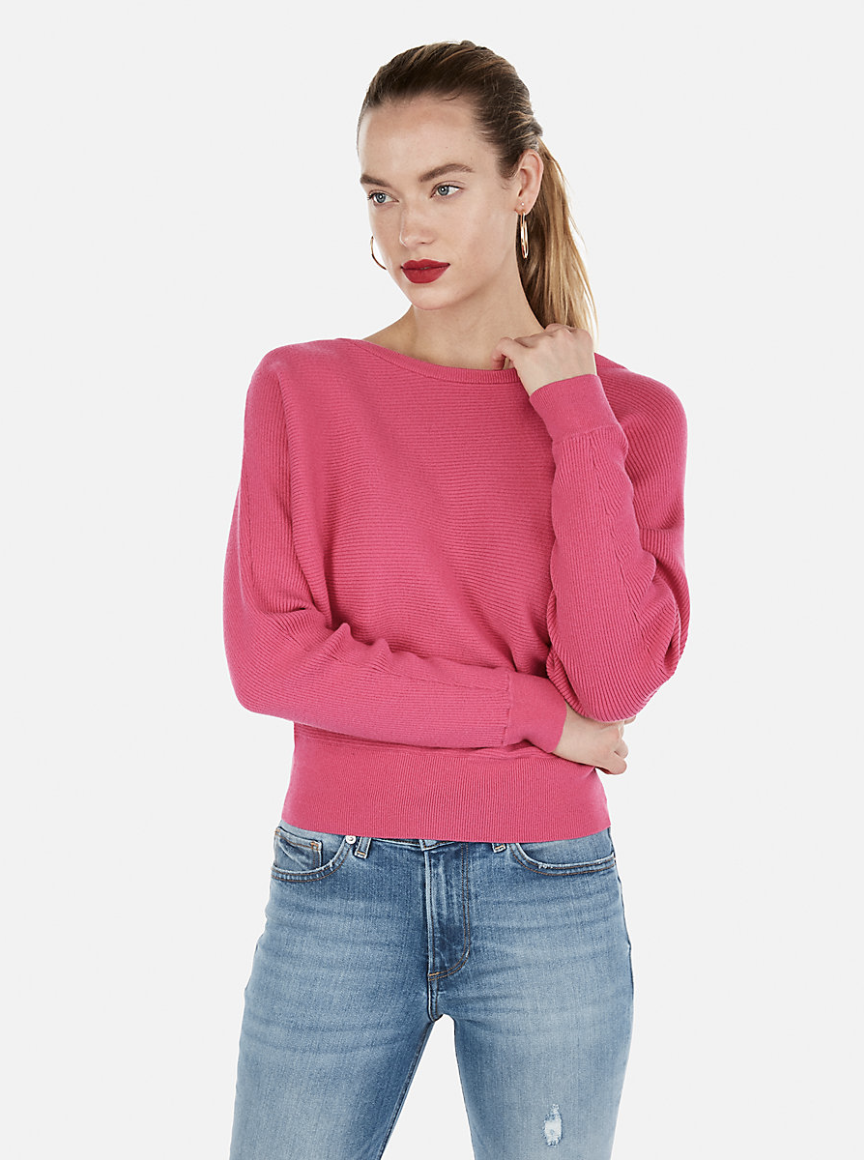 Express Horizontal Ribbed Dolman Sleeve Sweater [ $39.94 ]