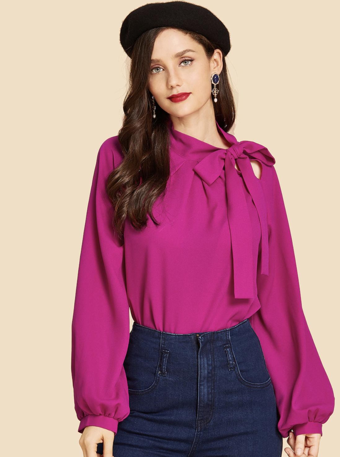 SHEIN Neon Pink Tie Neck Plain Top [ $14]