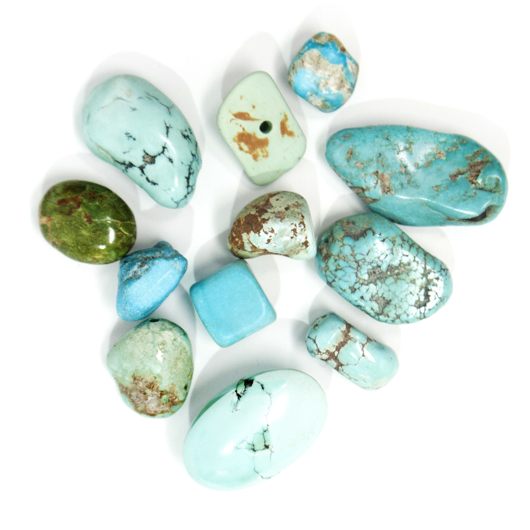 T U R Q U O I S E - Our stone with a Western vibe - Turquoise is famous for its brilliant opaque blue/green color.  Known for its protective powers,Turquoise is one of the oldest stones used historically as a talisman by warriors, shamans, and kings. For this reason, Turquoise appeared in Ancient Egyptian burial ceremonies to guard the passage of the dead.  Much of our Turquoise is mined in the U.S., but it is also found in Mexico, Iran, Chile, China, and Tibet.