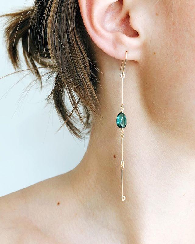 Ode to Green Tourmaline :: Marion in 14k Bone Chain earrings with green tourmaline