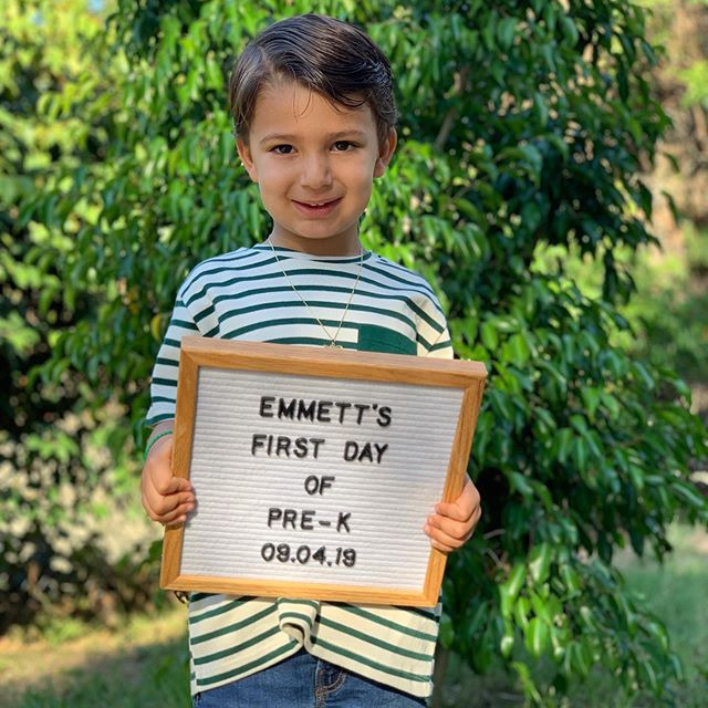 If you don't post a photo of your child's first day of school, did it even happen?  He may still be wearing his camp friendship bracelets and that golden summer tan, but don't let this kid fool you... he's ready to crush pre-k, and I couldn't be more proud of him. #emmettmarx