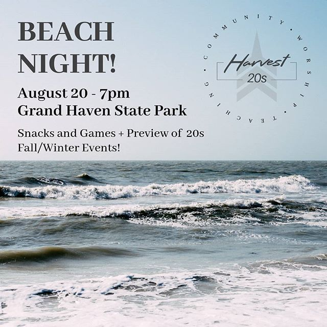 Beach Night 08/20!! ⛱️🌊🌅 Let's enjoy a summer night together at GH State Park with some snacks and beach games! Also, come for a preview of the fall/winter events coming up... including the opportunity to RSVP early for our Fall Camping Retreat! Hope to see you there!