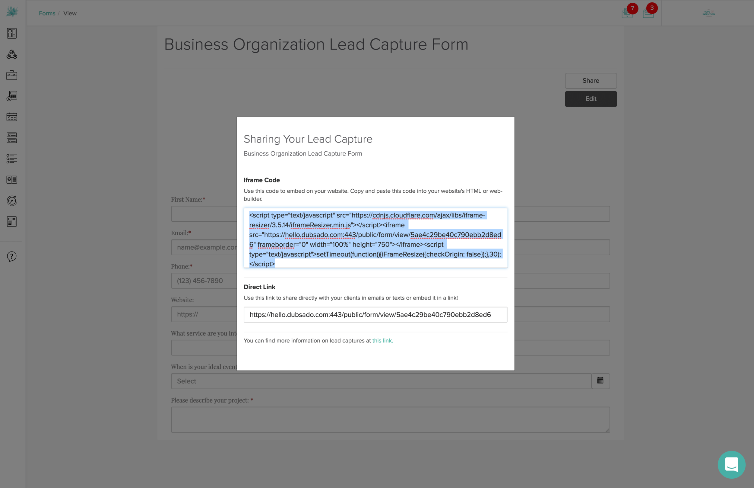 HTML for Embedding Form on Your Website