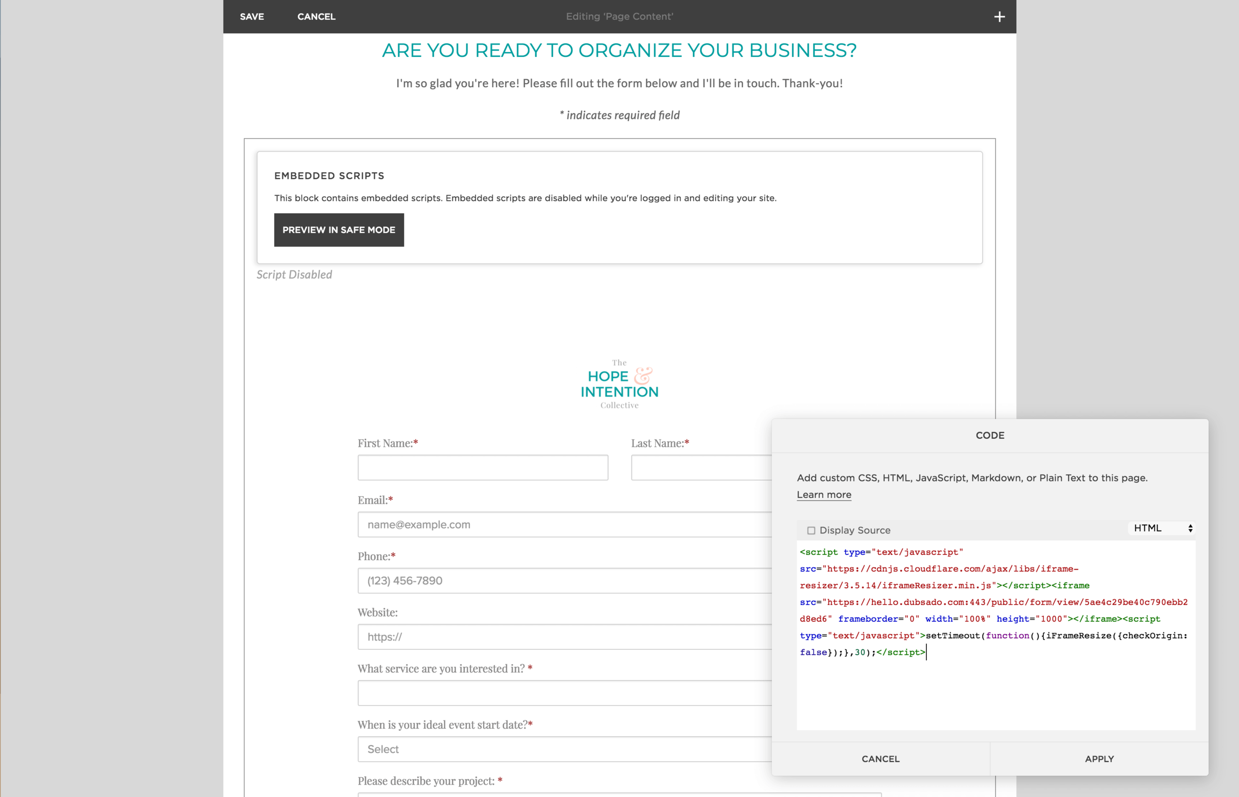 Coping the Dubsado Lead Capture Form HTML Code into a Code Block on Squarespace