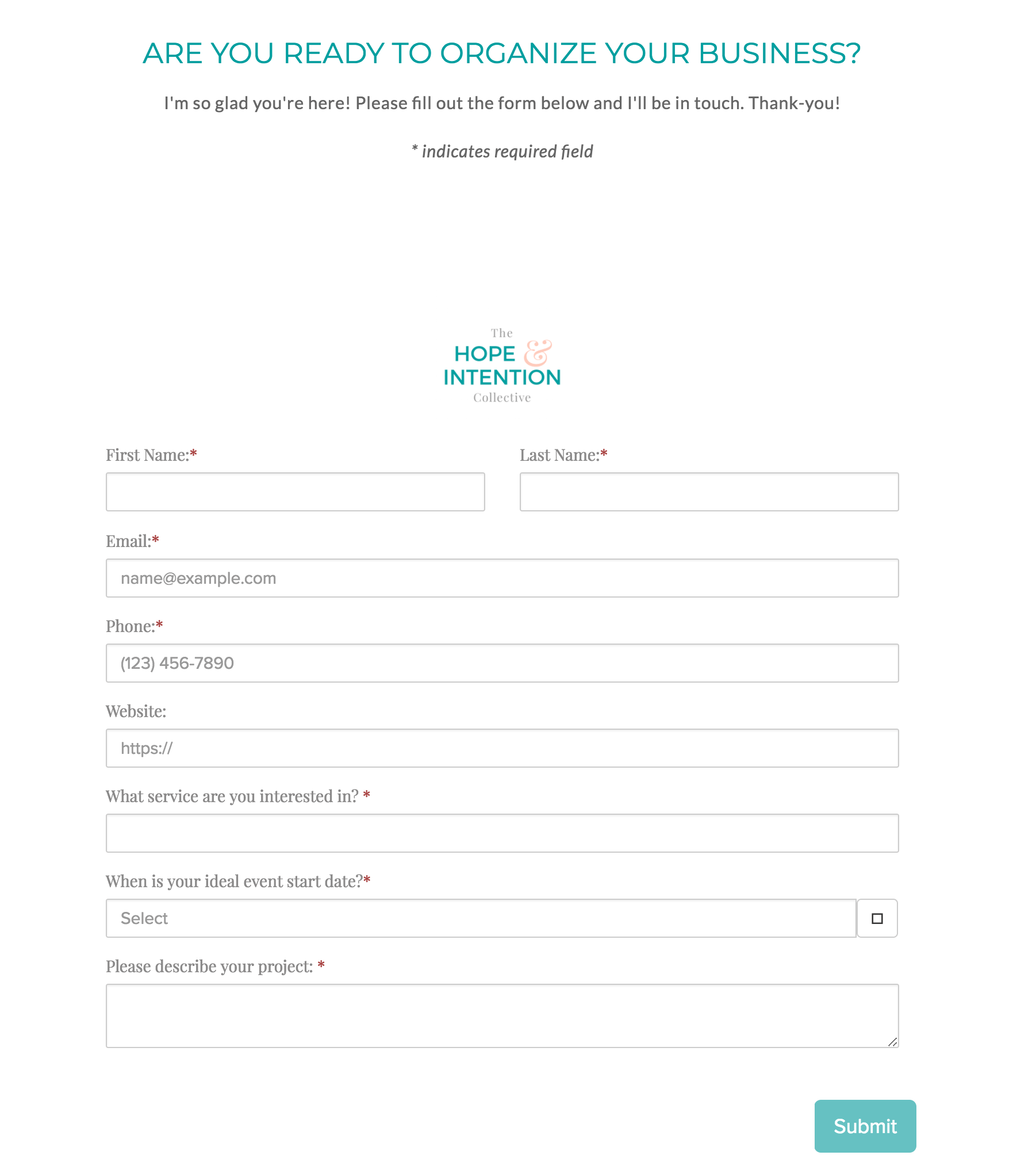 Completed Form on Squarespace