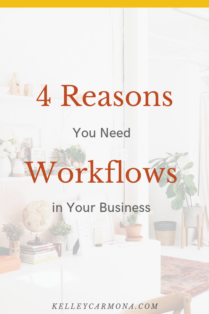 If you've spent any time in the online business space, you've probably heard of workflows.  Workflows are a list of steps that you perform on a regular basis to complete recurring tasks.  I'm a HUGE fan of workflows and, in fact, workflows are a key component of my coaching services, because I believe them to be a crucial component of making your business more efficient, scalable, and profitable.  You need workflows in your business, plain and simple. And today I'm showing you 4 reasons you need to be using them in your business, like, yesterday.