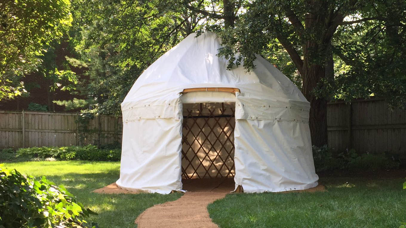 12-foot Yurt - Service Type: Rental or PRE-ORDERSize: 12 feet x 12 feetCapacity: Up to 10 peopleSide Canvas Coverage: Yes/OptionalFlooring: Coir carpetHeating/Cooling Option: Available
