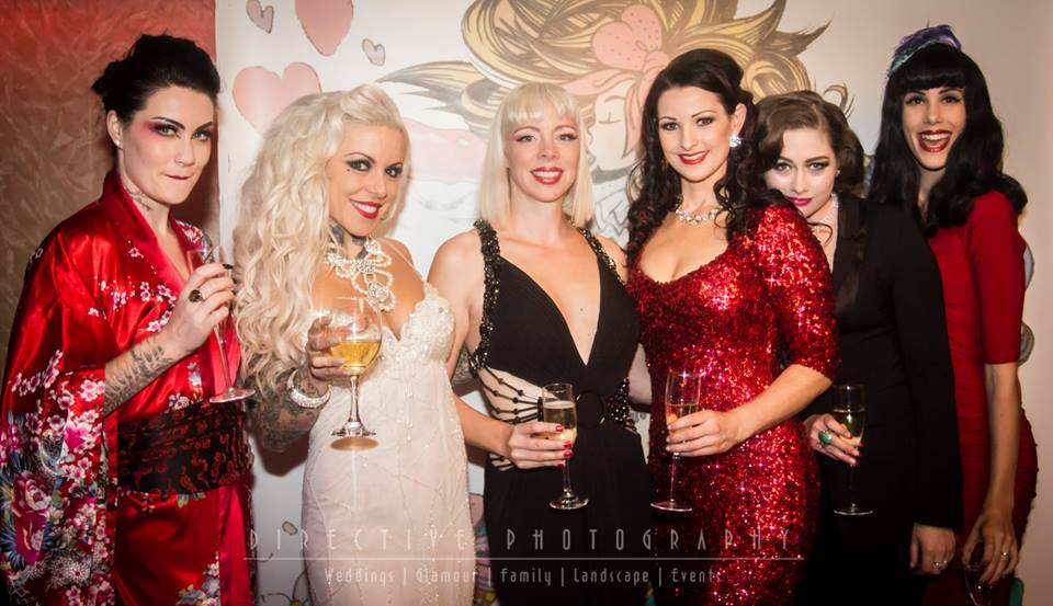An oldie, but a goodie! From L to R - The Magenta Diamond, Venus Starr, Australian and Miss Exotic World 2012 Imogen Kelly, Bonita Danger Doll, Leda Petit and Lilly Loca (moi!) pictured at Venus Starr's 'Carousel Cabaret' in 2014. Photo by Directive Photography.