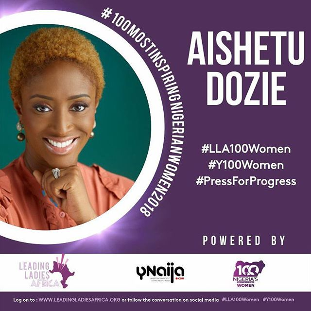 Even on sabbatical our founder is inspiring! Congrats to @aishetu and all the other fabulous women who were featured on the list. All of YOU are inspiring in YOUR unique way! #LLA100Women #Y100Women #PressForProgress