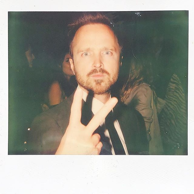 Aaron Paul on #impossibleproject #spectra  @glassofwhiskey #aaronpaul #breakingbad #jessepinkman #polaroid #instant #nofilter #fujifilm nice guy great actor!
