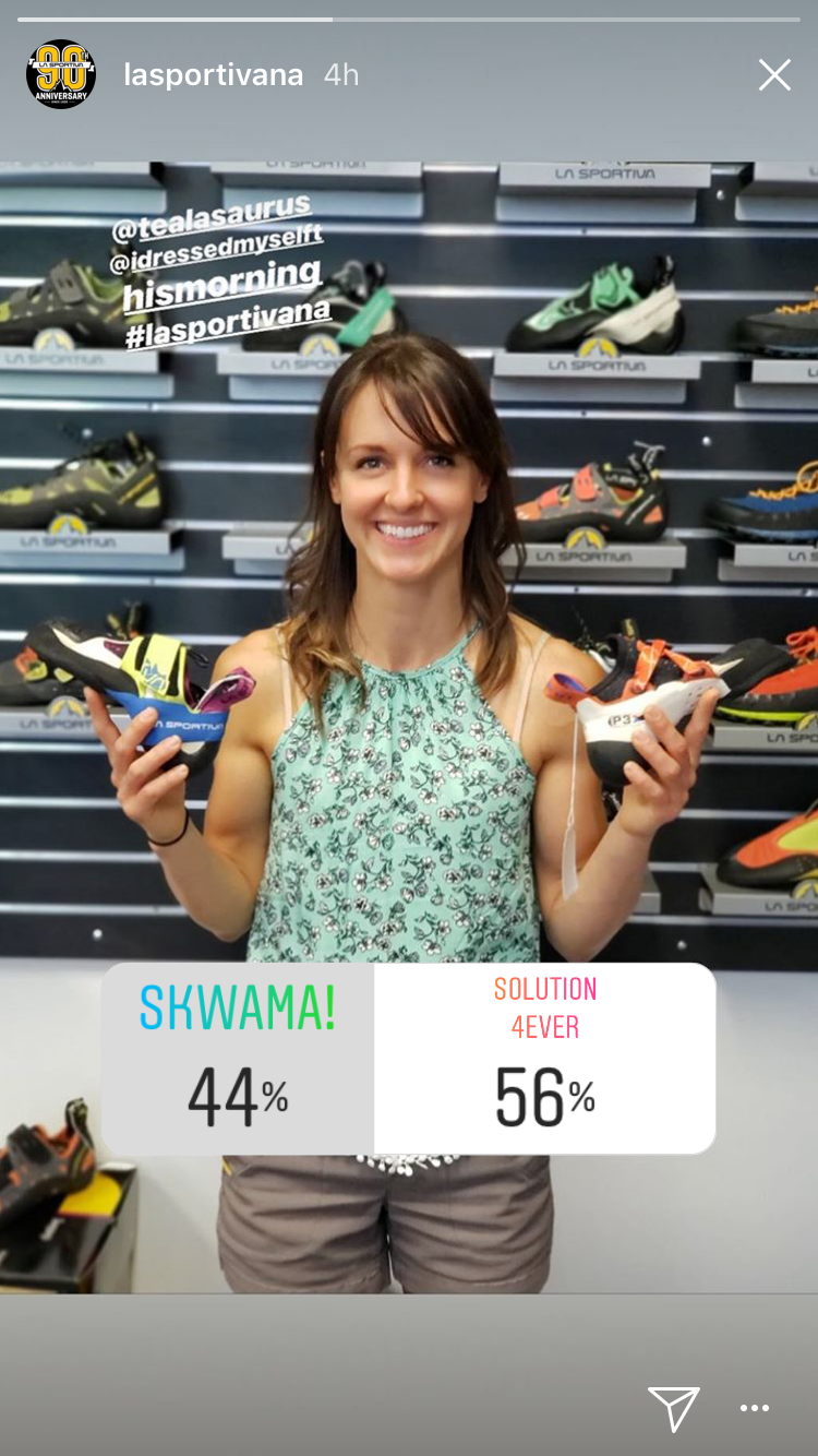New King & Queen of Bouldering Shoes?  - La Sportiva North America compares the two on their Instagram story with their followers voting on their preferences.