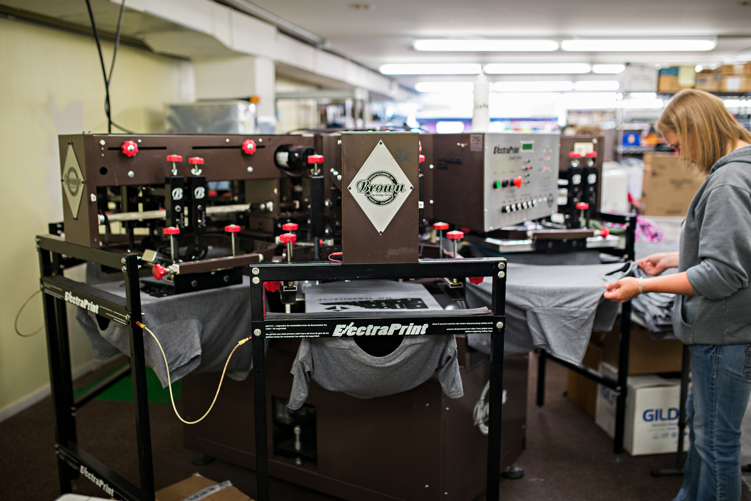 Our automated screen printing machine.