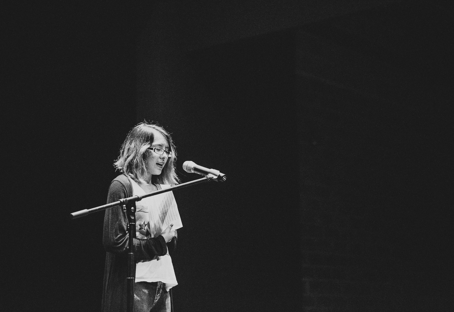Marfa student Crystal Catano performs a monologue during the Marfa Live Arts Winter Showcase in December 2016. Photo credit: Jennifer Boomer