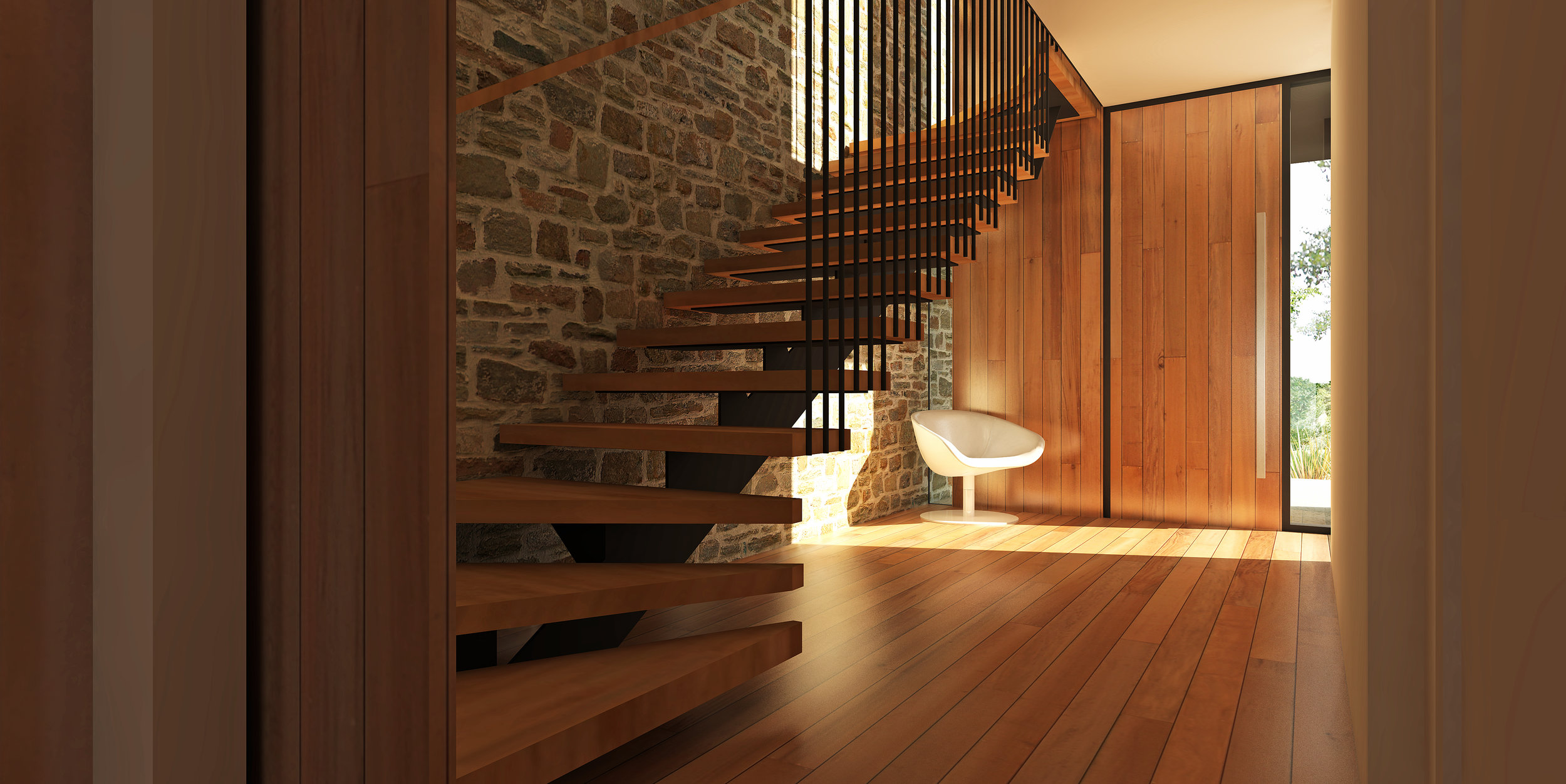 ARDROSS HOUSE view of entry and stair