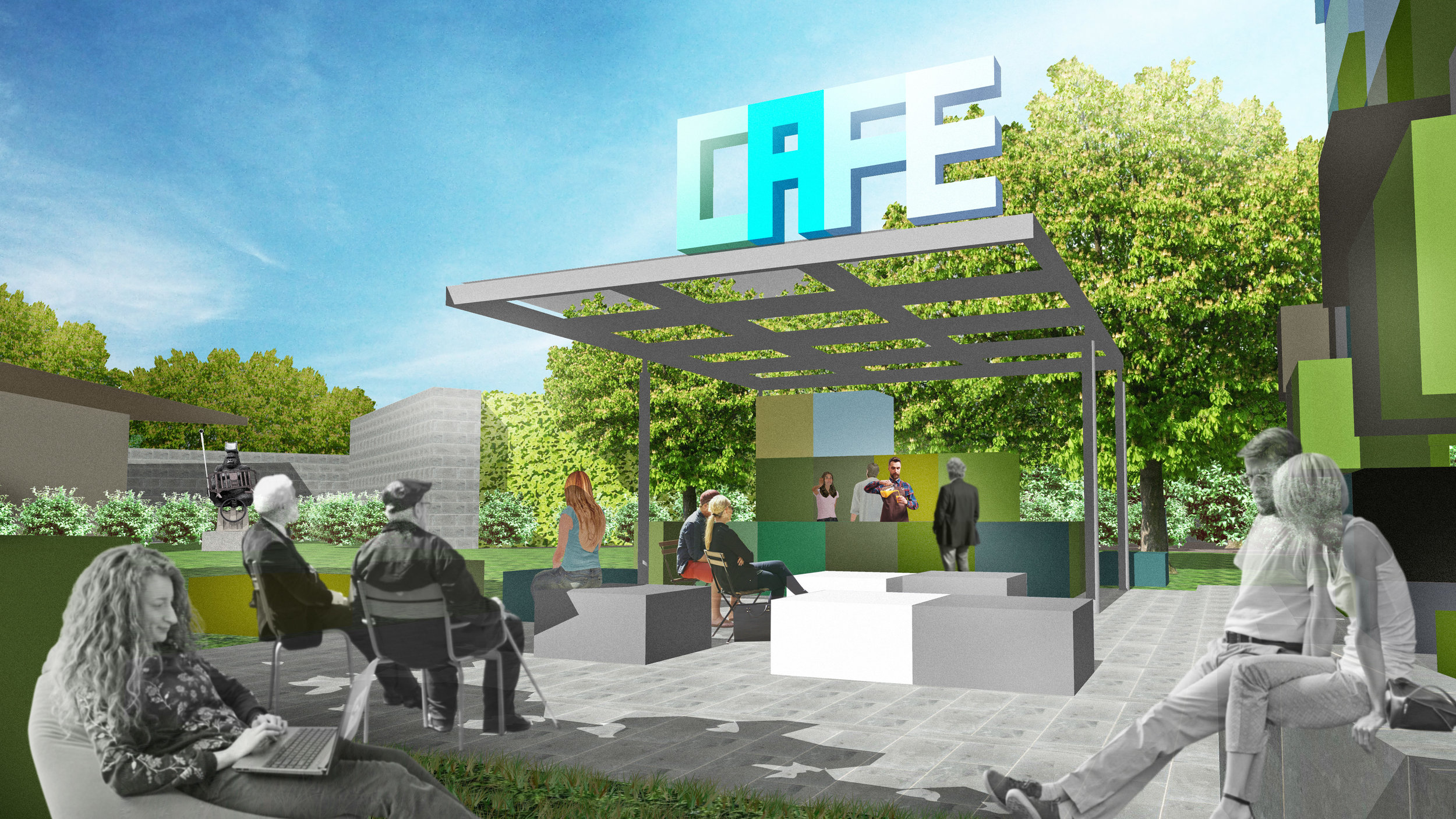 NGV Competition 2019 - Concept design by Mike Edwards Architecture - one of several concept images - view of cafe